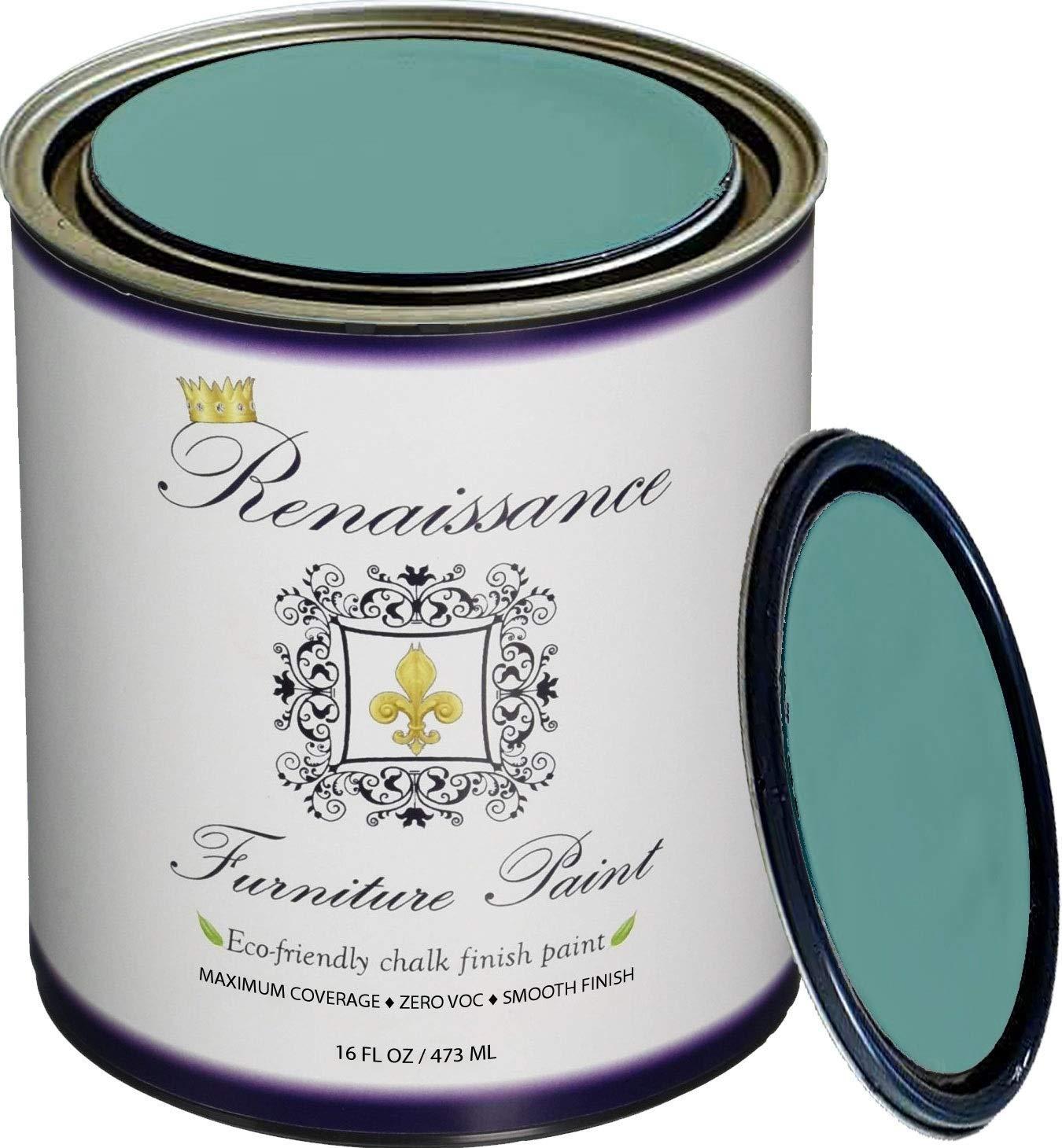 Retique It Chalk Finish Paint by Renaissance - Non Toxic, Eco-Friendly Chalk Furniture & Cabinet Paint - 16 oz (Pint), Camelot Blue