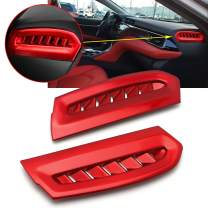 Xotic Tech Red Side Console AC Air Vent Outlet Cover Trim for Toyota Camry 2018 2019 2020