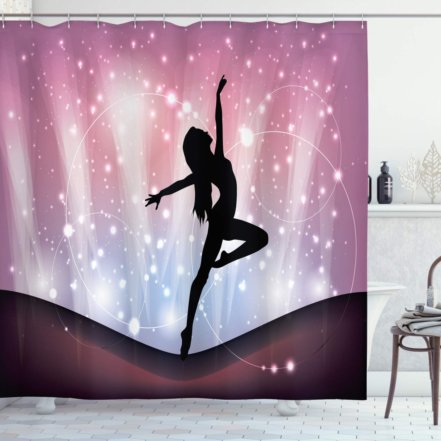 """Ambesonne Contemporary Shower Curtain, Silhouette of Ballerina Performing on Abstract Backdrop Magic Dance Fine Arts, Cloth Fabric Bathroom Decor Set with Hooks, 70"""" Long, Purple Black"""