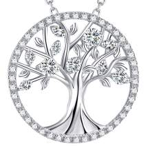 April March Birthstone Simulated Diamond Aquamarine Necklace for Women Mom Wife Birthday Mother's Day Gift Amethyst Jewelry Sterling Silver Tree of Life