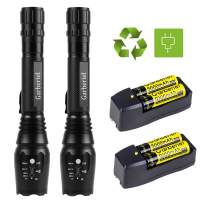 Garberiel Super Bright LED Flashlight, Rechargeable, Zoomable, Waterproof, 2000 Lumens Flashlight, 5 Light Modes for Camping and Hiking with Battery and Charger(2 Pack)