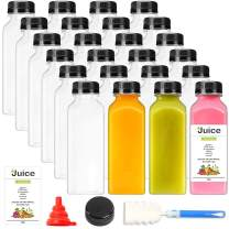 24pcs 12oz Empty Plastic Juice Bottles with Caps, Reusable Clear Bulk Beverage Containers, Black Tamper Evident Caps, for Juice, Milk and Other Beverages