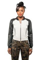 Poetic Justice Curvy Womens French Terry Vegan Leather Long Sleeve Bomber Jacket
