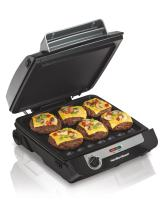 Hamilton Beach 3-in-1 Indoor Grill and Electric Griddle Combo and Bacon Cooker, Opens 180 Degrees to Double Cooking Space, Removable Nonstick Grids, (25600)
