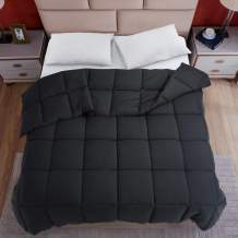 Fraylon All Season Full Comforter, Soft Quilted Down Alternative Comforter Hotel Luxury Collection Reversible Duvet Insert with Corner Tabs, Fluffy & Lightweight,82x86 Inches, Black
