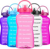 QuiFit Gallon Motivational Water Bottle - with Time Marker & Strainer & Portable Handle,Wide Mouth,BPA Free,64/128 oz Large Sport Fitness Water Jug,Perfect for Monitoring Water Intake