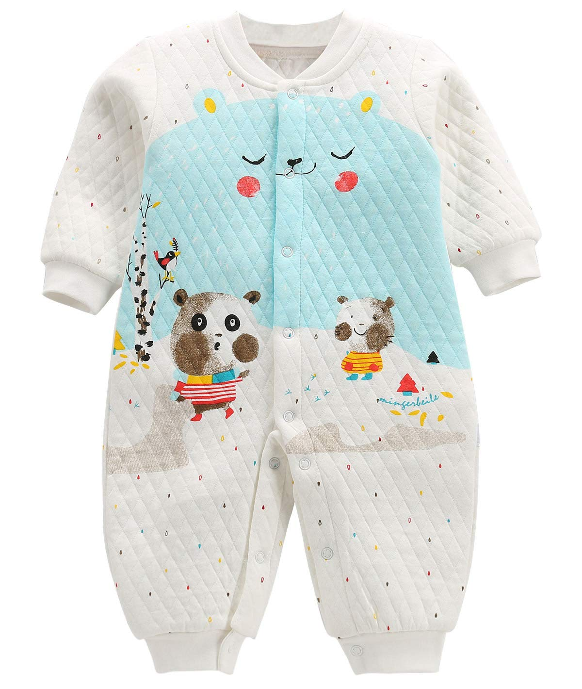 FEOYA Unisex Baby Long Sleeve Cotton Romper Footless Jumpsuit One-Piece Coverall Cute Animal Printed Pajamas Sleep and Play