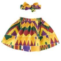 Oklady Toddler Baby Girl African Skirt Boho Dashiki Print Clothes with Headband Clothing