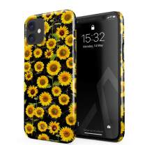 BURGA Phone Case Compatible with iPhone 11 - Yellow Sunflowers Vinatge Flowers Floral Print Pattern Fashion Designer Cute Case for Women Thin Design Durable Hard Plastic Protective Case