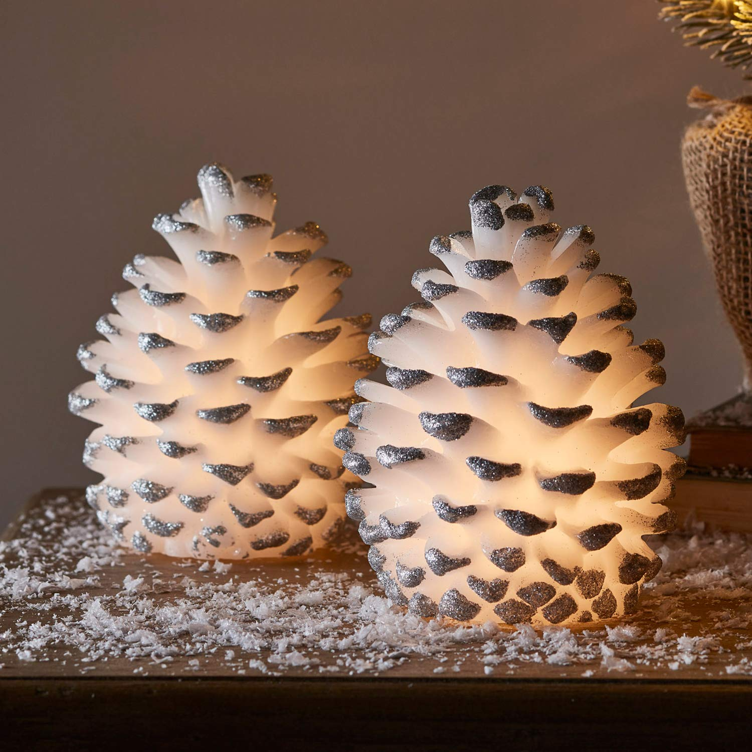 """Lights4fun, Inc. 5.5"""" & 4.5"""" Set of 2 White Wax Pine Cone Battery Operated LED Flameless Candles Remote Control"""