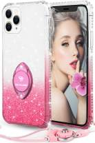 Glitter iPhone 11 Pro Case, Full Body Luxury Cute Bling Diamond Rhinestone with Ring Grip Kickstand Soft Thin Girly Protective Phone Case for Women Girl iPhone 11 Pro Case [5.8 inch], Gradient Pink