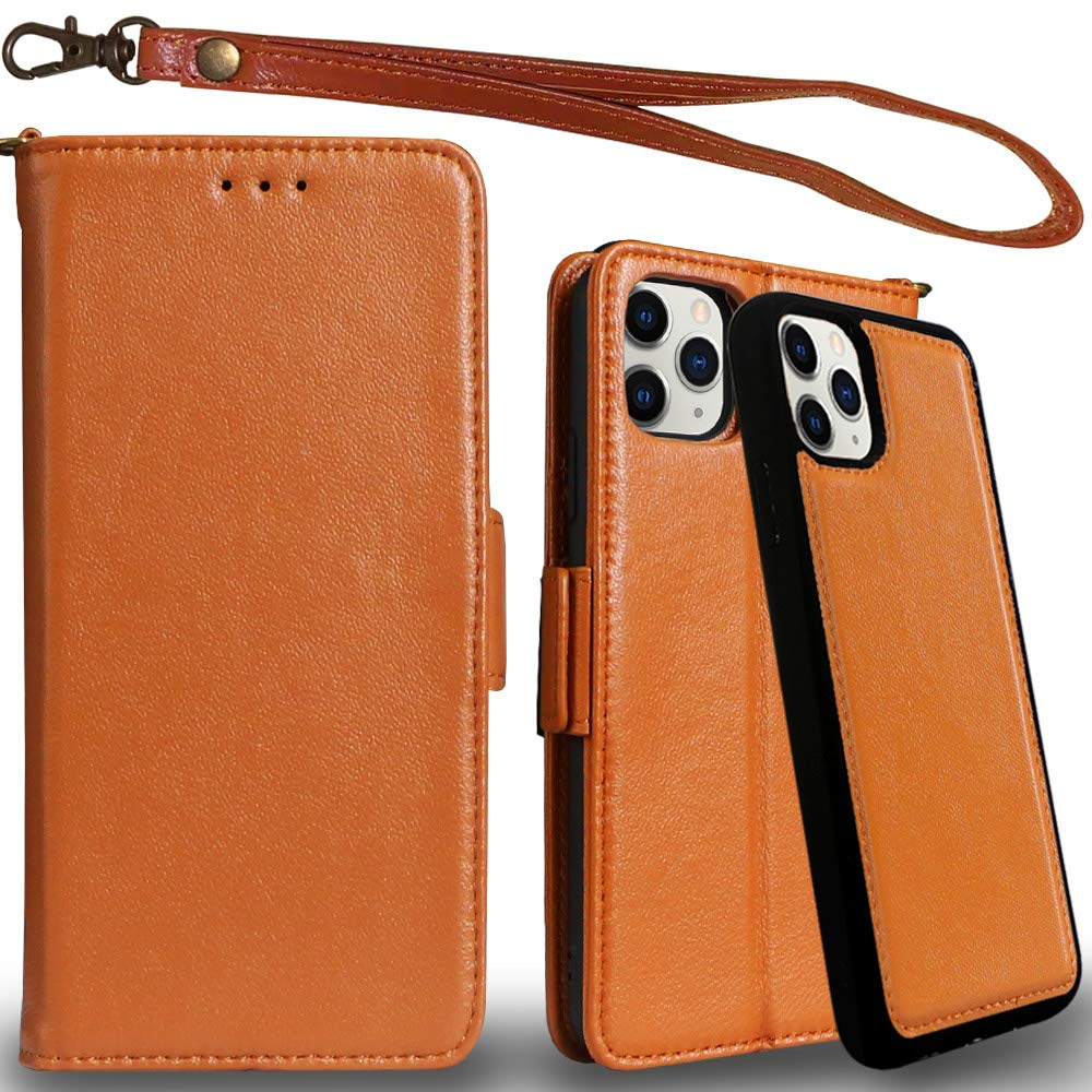 Mefon Genuine Leather iPhone 11 Pro Max Case Wallet, Magnetic Detachable, Wireless Charging Compatible, with Tempered Glass and Wrist Strap, Luxury Flip Folio Cases for iPhone 11 Pro Max (Brown)