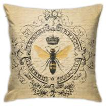 JASMODER Modern Vintage French Queen Bee Throw Pillow Covers Decorative 18x18 Inch Pillowcase Square Cushion Cases for Home Sofa Bedroom Livingroom