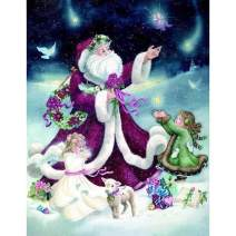 5D Diamond Painting Christmas Purple Santa Claus Full Drill by Number Kits for Adults, SKRYUIE DIY Rhinestone Pasted Paint with Diamond Set Arts Craft Decorations (12x16inch)