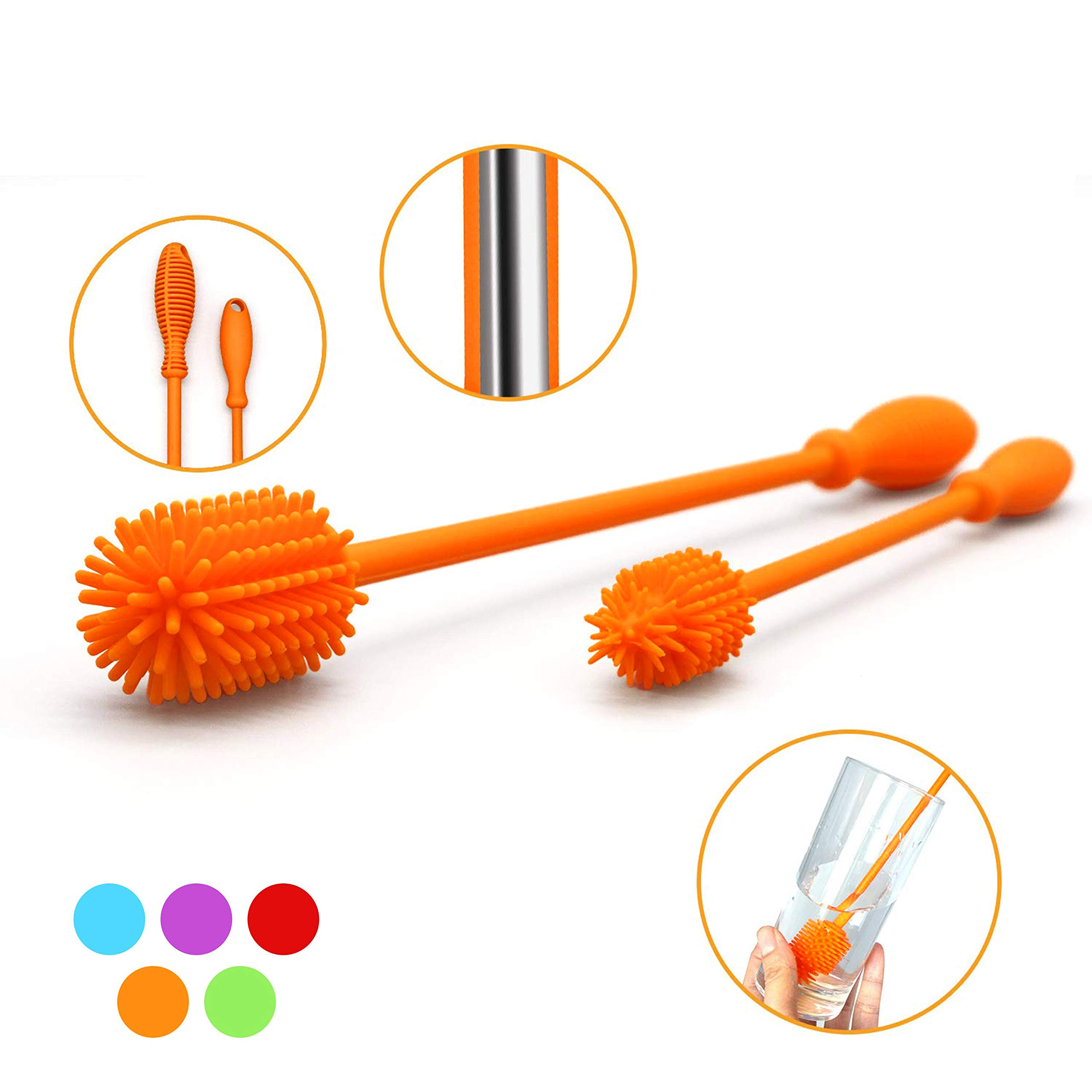 """Silicone Bottle Brush with 15"""" Long Handle [Set of 2] for Cleaning Baby Bottles, Hydro Flasks, Sports Water Bottles, Vases, Narrow Neck Glassware - Includes 15"""" and 9.5"""" Bottle Cleaning Brush (Orange)"""