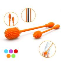 "Silicone Bottle Brush with 15"" Long Handle [Set of 2] for Cleaning Baby Bottles, Hydro Flasks, Sports Water Bottles, Vases, Narrow Neck Glassware - Includes 15"" and 9.5"" Bottle Cleaning Brush (Orange)"
