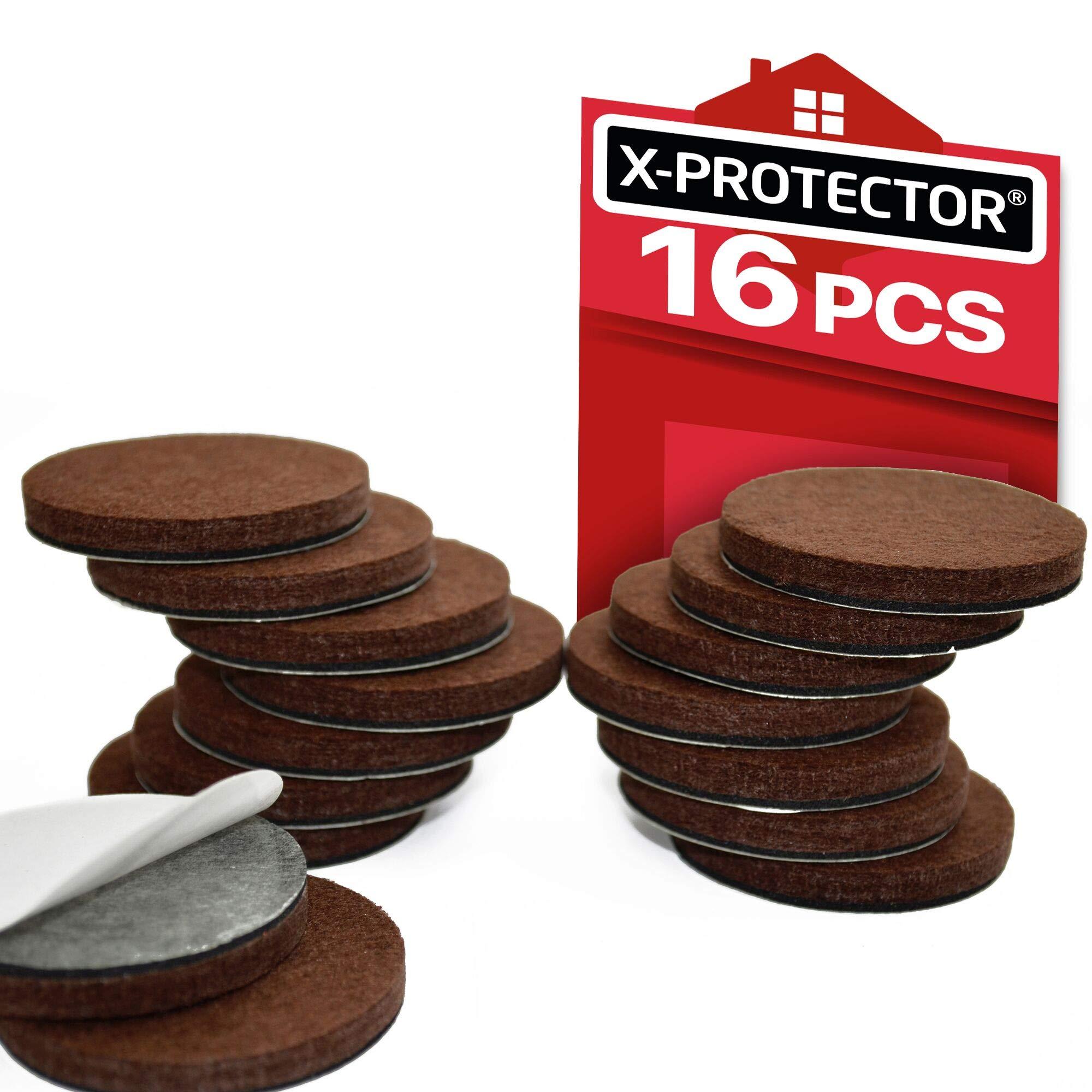 "X-PROTECTOR Premium 16 Thick 1/4"" Heavy Duty Felt Furniture Pads 2""! Felt Pads for Heavy Furniture Feet – Best Felts Wood Floor Protectors for NO Scratches Sliders. Protect Your Hardwood Floor!"