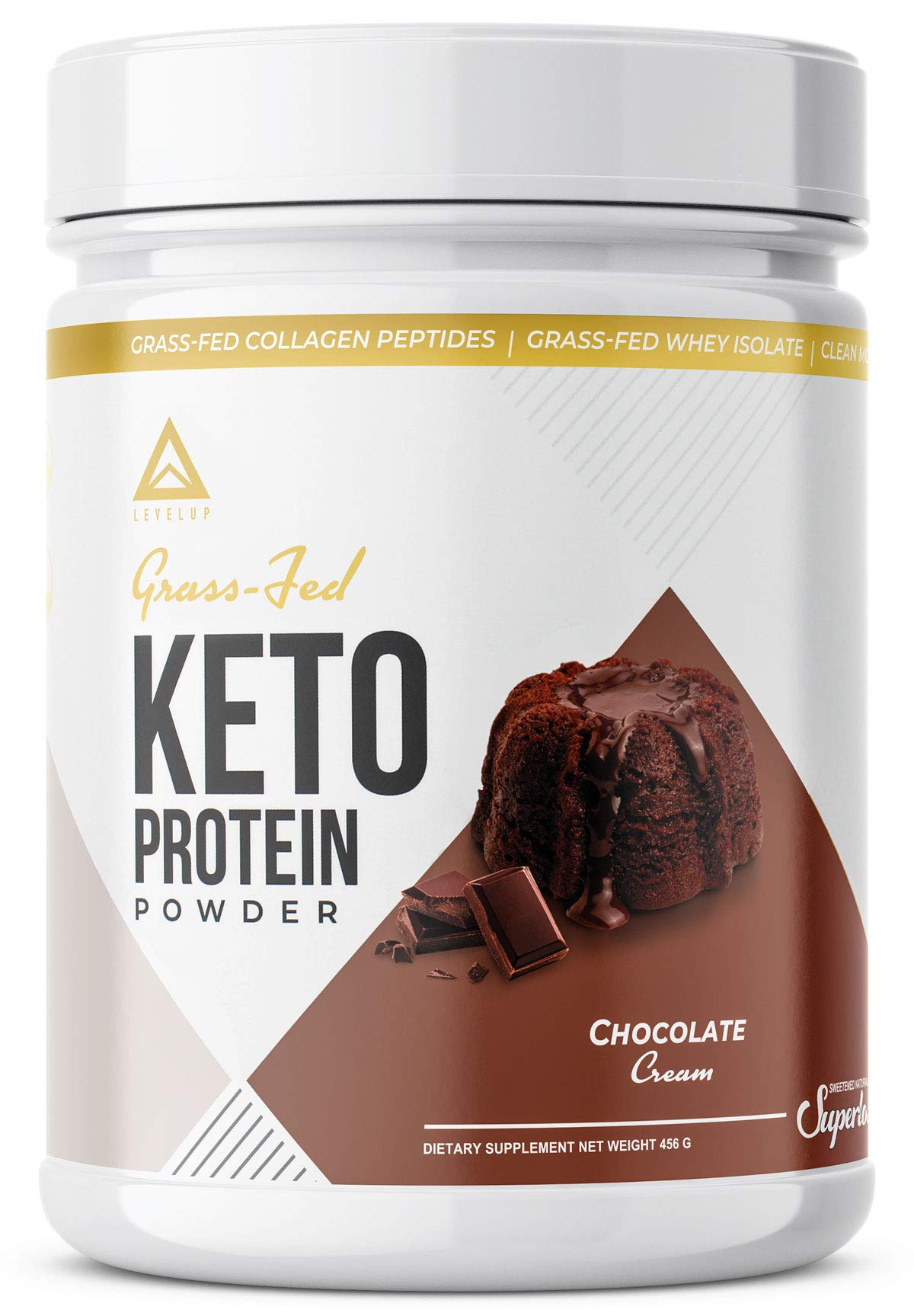 Grass-fed Keto Protein Powder: Collagen Peptides   Pure C8 MCT Oil   Irish Butter   Whey Protein Isolate   Best Ketogenic Protein Shake Supplement   by LevelUp® (Chocolate Cream)