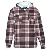 Hoodies for Men Heavyweight Fleece Sweatshirt Full Zip Up Thick Sherpa Lined Flannel Plaid Jacket Coat