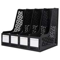Deli Magazine File Book Holder Desktop Organizer Vertical Document Folder for Office Organization, 4 Compartments, Black