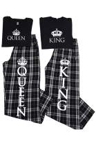 Zynotti Matching Couples Pajamas Set w/King & Queen Black White Plaid Flannel His and Hers Pajama Sets for Couples