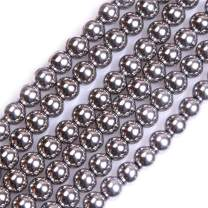 """GEM-insid 6mm Hematite Round Silver Color Beads for Jewelry Making Bracelets Necklace 15"""""""