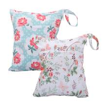 Cloth Diaper Wet Dry Bags Set Waterproof Reusable Dual Zipper for Baby Kids Gym Travel Laundry Swimsuit Towel 2pcs (WB02-Flower)