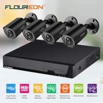 FLOUREON for Home Office 1080P HD Security Camera System, 4 Pcs 3000TVL Outdoor CCTV Cameras, Motion Alert, Smartphone, PC Remote Access Surveillance Camera