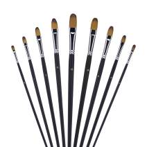 Professional Artist Paint Brushes, Fuumuui 9 Pcs Long Handle Brushes Perfect for Watercolor, Acrylics, Oil Paint, Gouache, Paint Palette Included. Suitable for Beginners
