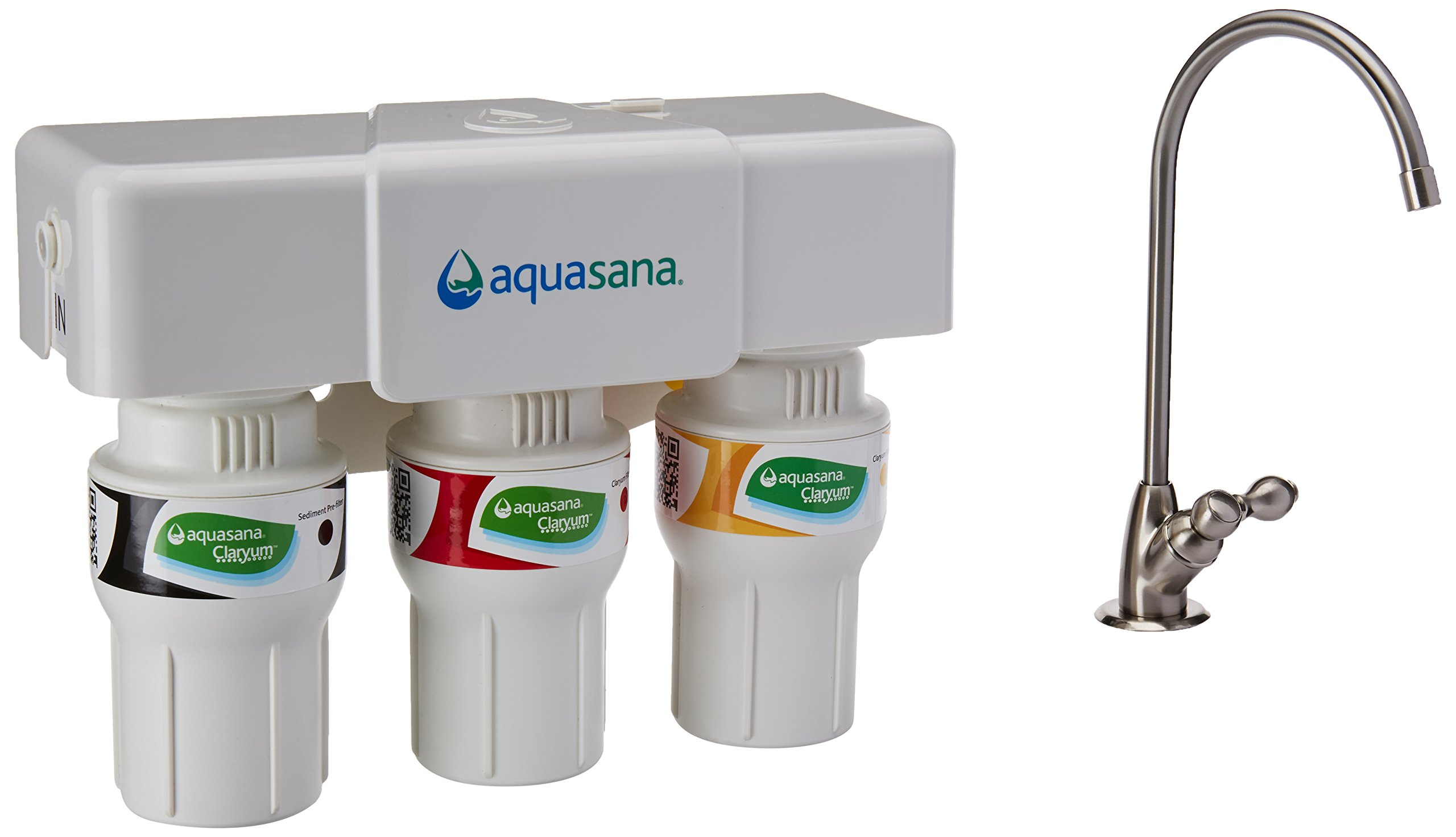 Aquasana 3-Stage Under Sink Water Filter System - Kitchen Counter Claryum Filtration - Filters 99% Of Chloramine - Brushed Nickel - AQ-5300