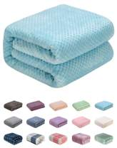 """WONDER MIRACLE Throw Blanket of Plush Fuzzy Fleece Lightweight Soft Warm Cozy Coral Multipurpose for Couch and Sofa,Picnic,Beach,AC Room,Travel, Outdoor, Decorative (Throw(50""""x70""""), L-Ice Blue)"""