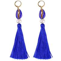 C·QUAN CHI Colorful Tassel Earrings Bohemian Dangle Drop Tiered Tassels Druzy Studs Earrings for Women Gifts