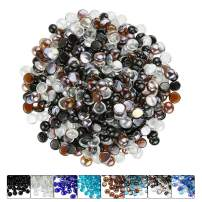 Hisencn 1/2 Inch Blended Fire Glass Beads for Fire Pit, Fireplace, Fire Bowls, Garden Landscaping Decorative Accessories, High Luster Tempered Glass Rocks, Onyx Black,Amber,Crystal Ice Mix, 10 Pounds