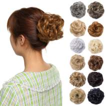 Messy Bun Hair Piece Scrunchy Updo Hair Pieces for Women Fluffy Wavy Hair Bun Scrunchies Donut Hairpiece Synthetic Chignons With Elastic Rubber Band Dark Blonde-Thicker 1 pc