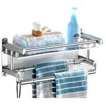 BEKVÄMT Stainless Steel Shower Shelf Adhesive Bathroom Shelf with Towel Bar Drilling and No Drilling Shower Caddy Kitchen Spice Rack Bath Organizer Shelves (40CM)