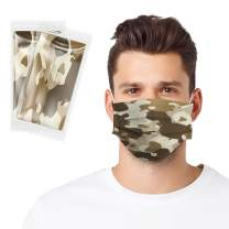 Individually Wrapped Disposable 3-Ply Non-Woven Camo Brown Face Mask for Adults,30Pcs,Originated in US by Egosopp