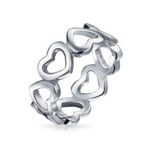 Simple BFF Love Eternity Friendship 925 Sterling Silver Open Heart Band Ring For Girlfriend For Teen