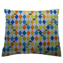 SheetWorld Crib / Toddler Percale Baby Pillow Case - Argyle Blue Transport - Made In USA