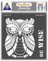 CrafTreat Owl Stencils for Painting on Wood, Canvas, Paper, Fabric, Floor, Wall and Tile - Be Wise - 6x6 Inches - Reusable DIY Art and Craft Stencils for Home Decor- Stencil of Birds