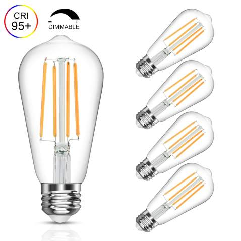 Vintage Led Edison Bulb 6w Equivalent 60w Soft White 2700k Dimmable Led Filament Light Bulb E26 Base High Cri 95 Eye Protection Led Bulb Clear Glass For Home Bathroom Kitchen Pack Of