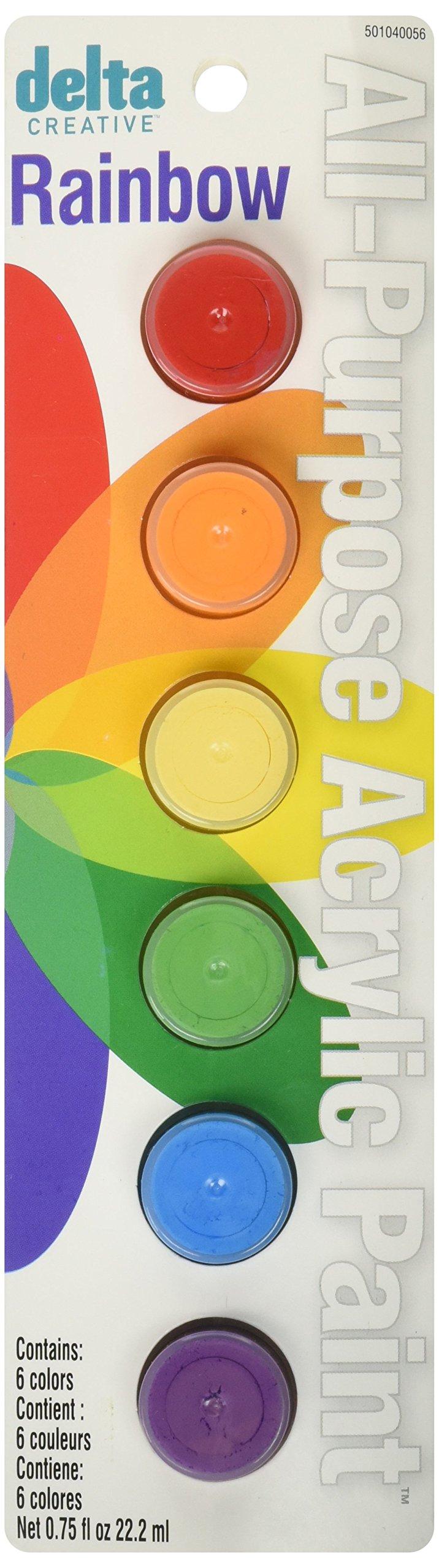 Delta Creative Paint Pots Set with 6 Colors, Rainbow