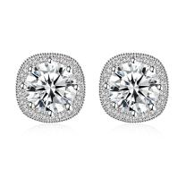 Jane Stone Fashion Sterling Silver Halo Stud Earrings S925 with Cubic Zirconia CZ Square Crystal Jewelry for Women
