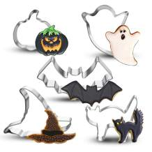 Bonropin Halloween Cookie Cutter Set - 5 Piece Stainless Steel Cutters Molds Cutters for Making Pumpkin,Ghost, Witch's Hat, Bat and Cat Cutter Stainless Steel