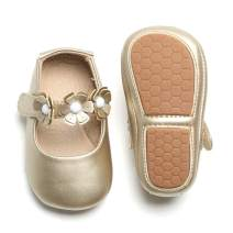 Otter MOMO Baby and Toddler Girls Mary Jane Flats with Bowknot Non-Slip Toddler First Walkers Princess Dress Shoes