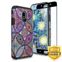 TJS Galaxy J7 2018/J7 Refine/J7 Star/J7 Eon/J7 TOP/J7 Aero/J7 Crown/J7 Aura/J7 V 2nd Gen Case [Full Coverage Tempered Glass Screen Protector] Dual Layer Hybrid Shockproof Case (Colorful Mandala)