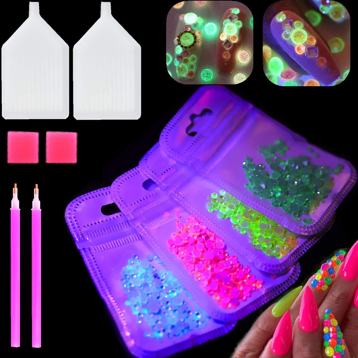 3D Luminous Nail Art Rhinestones Gems Kit Party Theme Glow in Dark Fluorescent NEON Night Light Nail Charms Crystals Diamonds with Storage Organizer Box and Picker Pencil (luminous)