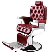 Artist Hand Barber Chair Vintage Heavy Duty Hydraulic Recline Salon Chair Barber Chairs for Hair Stylist Tattoo Chair Barber Salon Equipment (Vintage Red')