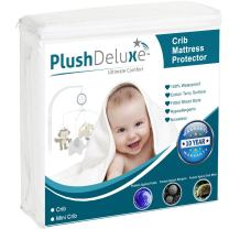 PlushDeluxe Mini Crib Size Premium 100% Waterproof Mattress Protector Hypoallergenic, Vinyl Free, Breathable Soft Cotton Terry Surface - 10 Year Warranty from
