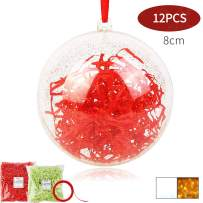 Shinyee Clear Fillable Ornaments Ball DIY Christmas Ornaments Xmas Clear Sphere Plastic Empty Round DIY Ornaments Set,Baubles Christmas Tree Balls Ornaments Fillable Big Orb Craft (Golden)