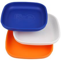 Re-Play Made in USA 3pk Plates with Deep Sides for Easy Baby, Toddler, Child Feeding - Navy Blue, White, Orange (Sport)
